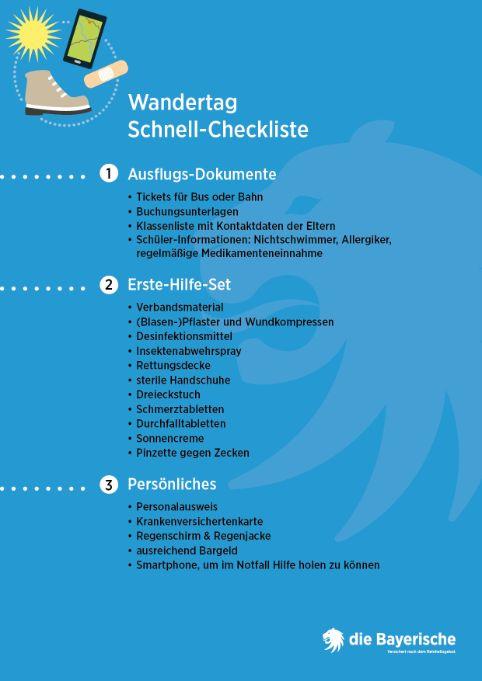 Diebayerische Ratgeber Checkliste Wandertag
