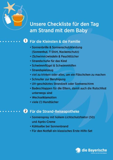 Diebayerische Ratgeber Mit Dem Baby Strand Checkliste